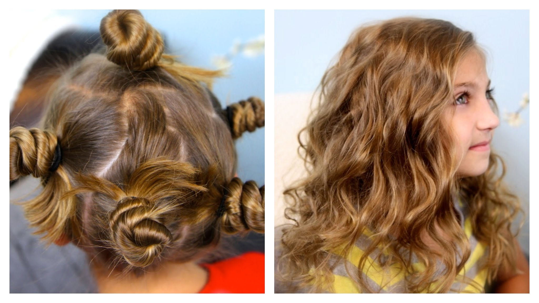 Twisted buns to get easy curls