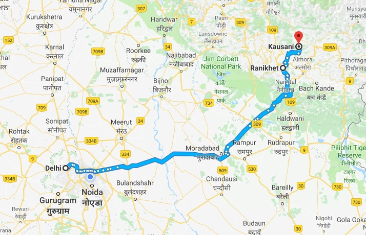 Summer weekend trip to Kausani. Route map