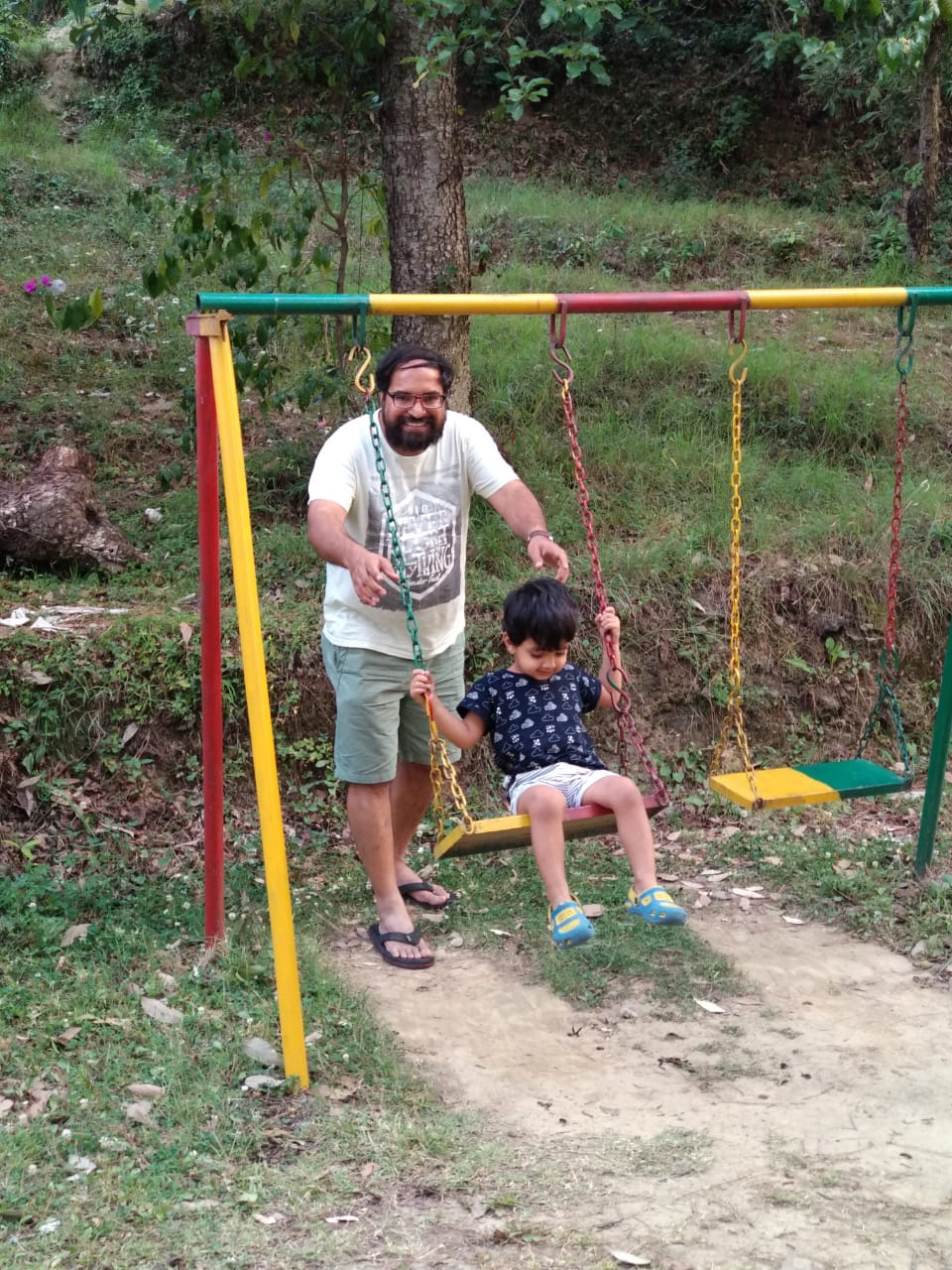 Summer Weekend Getaway to Kausani. Play area in the hotel chevron mountain villa