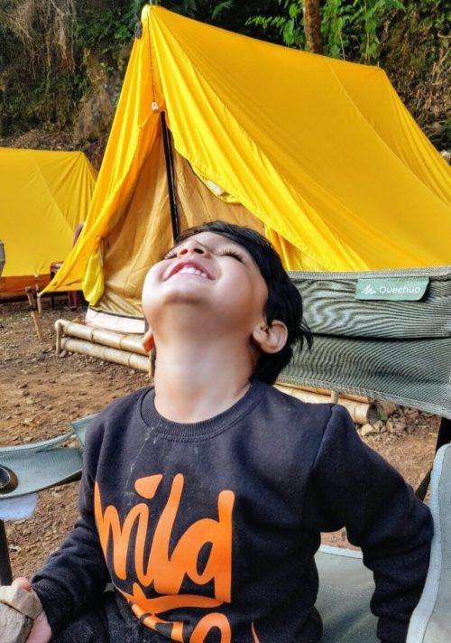Riverside Camping with Kids at Shnongpdeng near Dawki in Meghalaya.