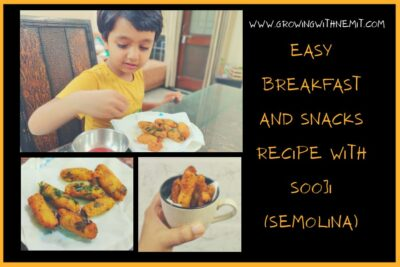 Here's an easy breakfast and snacks recipe with sooji. You can make upma in breakfast and then use the leftover upma from breakfast to make yummy snacks.