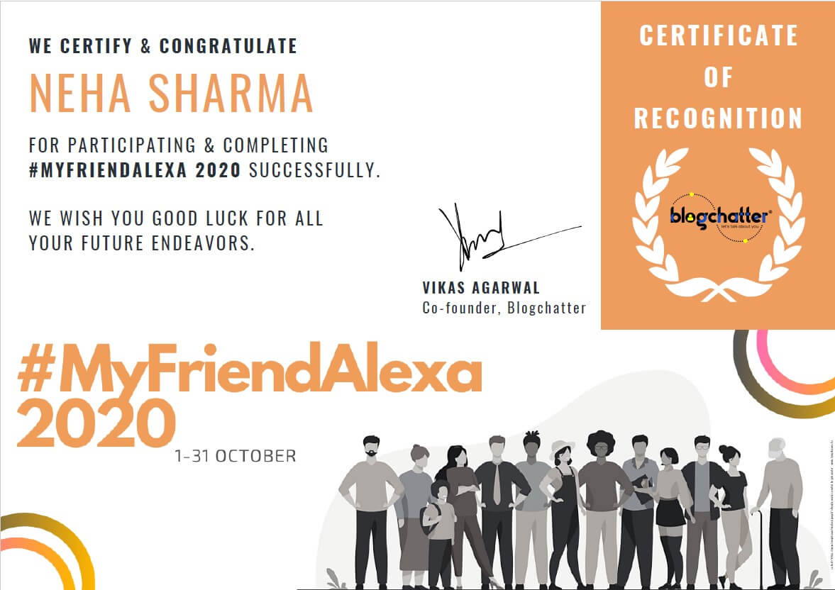 My Friend Alexa Certificate