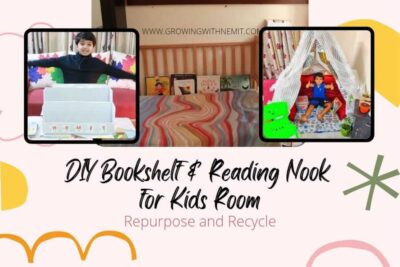 DIY Bookshelf and Reading Nook for Kids. We will use old cardboard boxes to make a bookshelf and we will repurpose an old baby cot into a reading nook.